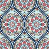 Ethnic seamless pattern. Seamless pattern with ethnic mandala ornament. Hand drawn vector illustration Stock Photo