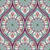 Ethnic seamless pattern. Seamless pattern with ethnic mandala ornament. Hand drawn vector illustration Royalty Free Stock Photos