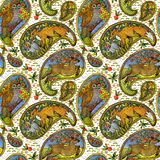Seamless pattern with ethnic motif forest animals. watercolor folklore illustration. paisley element background. Seamless pattern with ethnic motif forest stock illustration