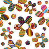 Seamless pattern with ethnic motifs patterned flowers Stock Images