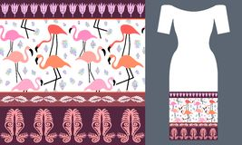 Pink flamingos. Party dress design. vector illustration