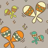 Seamless pattern - ethnic music Stock Images