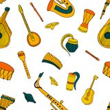 Seamless pattern with Ethnic musical folk instrument. Seamless pattern with Ethnic musical folk instruments: flute pan, recorder, violin, string instruments and royalty free illustration
