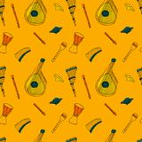 Seamless pattern with Ethnic musical folk instruments. Seamless pattern with Ethnic musical folk instruments: flute pan, recorder, violin, string instruments royalty free illustration