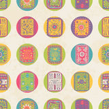 Seamless pattern with  ethnic ornament. Polka dot Stock Photo