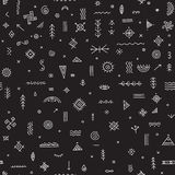 Seamless pattern with ethnic tribal symbols black Royalty Free Stock Images
