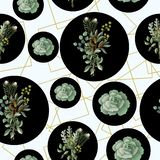Seamless pattern with eucalyptus, magnolia leaves, succulents and golden frames. Geometrical and botanical vector background. stock illustration