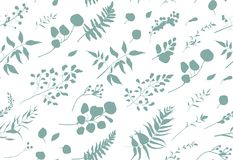 Seamless pattern of Eucalyptus palm fern different tree, foliage. Natural branches, blue leaves, herbs, berries tropical heel hand drawn silhouette watercolor Stock Photo