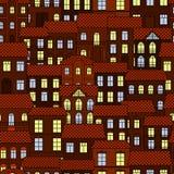 Seamless pattern of european night town Stock Images