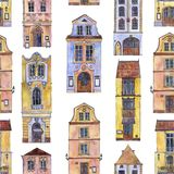 Seamless pattern with watercolor drawing houses Royalty Free Stock Images