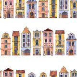 Seamless pattern with watercolor drawing houses Royalty Free Stock Photo