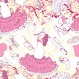 Seamless pattern with evening dress and fashion accessories Royalty Free Stock Photos