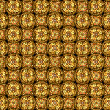 Seamless pattern. Evenly spaced circles with decorative swirls. Drawn by hand. Stock Photography