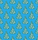 Seamless Pattern with Evergreen Christmas Tree Stock Image