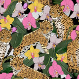 Seamless pattern of exotic flower orchid and jaguar. Tropical flowers and exotic animal seamless background Stock Illustration