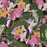 Seamless pattern of exotic flower orchid and jaguar Royalty Free Stock Photos