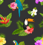 Seamless Pattern with Exotic Flowers and Birds. Jungle Texture Royalty Free Stock Photo