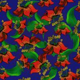 Seamless pattern with exotic flowers on blue background. Seamless pattern with exotic flowers on dark blue background Royalty Free Stock Photography