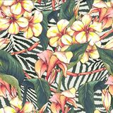 Seamless pattern with exotic flowers Royalty Free Stock Photography