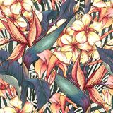 Seamless pattern with exotic flowers vector illustration