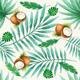 Seamless pattern. Exotic fruits  seamless pattern, watercolor, vector illustration Stock Photography