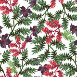 Seamless pattern of exotic leaves Royalty Free Stock Image