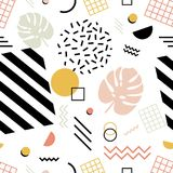 Seamless pattern with exotic monstera leaves, geometric shapes of various texture and zigzag lines on white background vector illustration