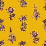 Seamless pattern with exotic trees such us palm, monstera and banana. Interior vintage wallpaper. Seamless pattern with exotic trees such us palm, monstera and vector illustration