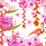 Seamless Pattern with Exotic Tropical Flower and Flamingo Royalty Free Stock Photos