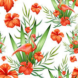 Seamless Pattern with Exotic Tropical Flower and Flamingo Stock Photos