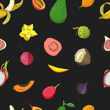 Seamless pattern with exotic tropical fruits. Black vector background. Seamless pattern with exotic tropical fruits. Black vector background Royalty Free Stock Images