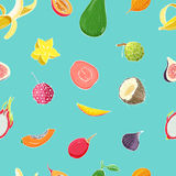 Seamless pattern with exotic tropical fruits. Colorful vector background. Stock Photography