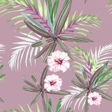 Seamless pattern with exotic tropical palms and hibiscus flowers. Pink tropical plants on the dark pink background. Tropical illustration. Jungle foliage Vector Illustration