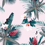 Seamless pattern with exotic tropical plants, palms and flowers. Vintage colors tropical plants on the pink background. stock illustration