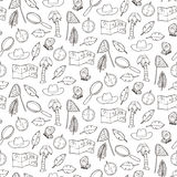 Seamless pattern with exploring elements Royalty Free Stock Images