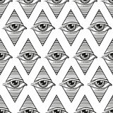 Seamless pattern eye in a rhombus, in the style of tattoos Stock Photography