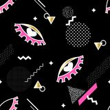 Seamless pattern with eye sign and trendy geometric elements. Vector background.  Stock Photo