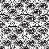 Seamless pattern with eye, stars and pentagram. Stock Photography