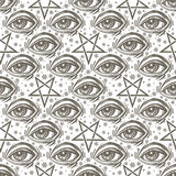 Seamless pattern with eye, stars and pentagram. Seamless pattern with all-seeing eye, stars and reverse pentagram. Occult design vector illustration. Ink tattoo Stock Photography