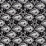 Seamless pattern with eye, stars and pentagram. Royalty Free Stock Photo