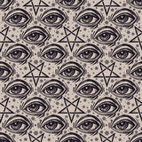 Seamless pattern with eye, stars and pentagram. Seamless pattern with all-seeing eye, stars and reverse pentagram. Occult design vector illustration. Ink tattoo Royalty Free Stock Photos