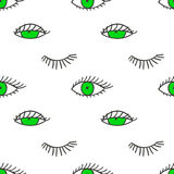 Seamless pattern with eyes and lashes. Funny background stock illustration