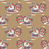 Seamless pattern fabric with unusual tribal animal Royalty Free Stock Photo