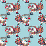 Seamless pattern fabric with unusual tribal animal Stock Images