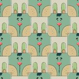 Seamless pattern the face of a cute rabbit Royalty Free Stock Photos