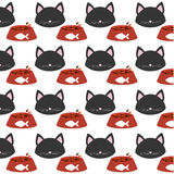 Seamless pattern face kitten bowl food. Illustration eps 10 Royalty Free Stock Photos