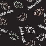 Seamless pattern with the face of a naughty boy. Hand-drawn. School subject. Vector illustration Stock Image