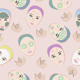 Seamless pattern with faces Royalty Free Stock Photo