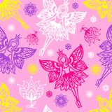Seamless pattern of fairies. And flowers. For the design of fabric, paper, scrapbooking Stock Photos
