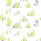 Seamless pattern. Fairy forest with owls and monsters. On the illustration there are pine trees, branched trees with circles and p. Fairy Night Seamless pattern Royalty Free Stock Image